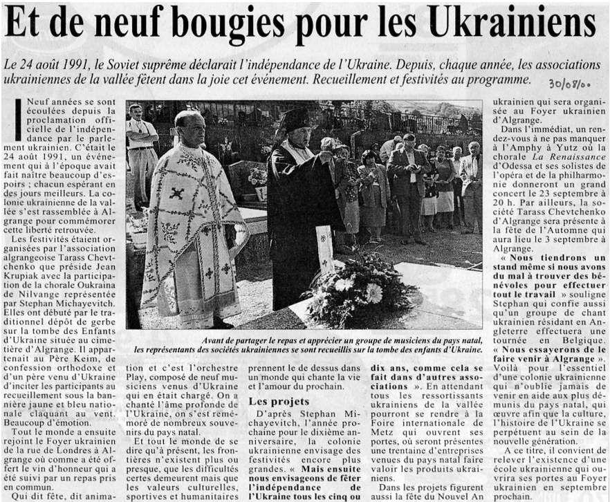 Républicain Lorrain du 30 août 2000