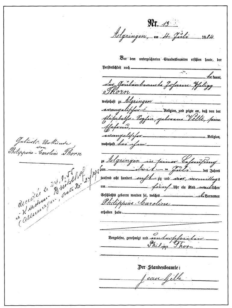 Extrait de naissance du premier enfant de Philipp THORN