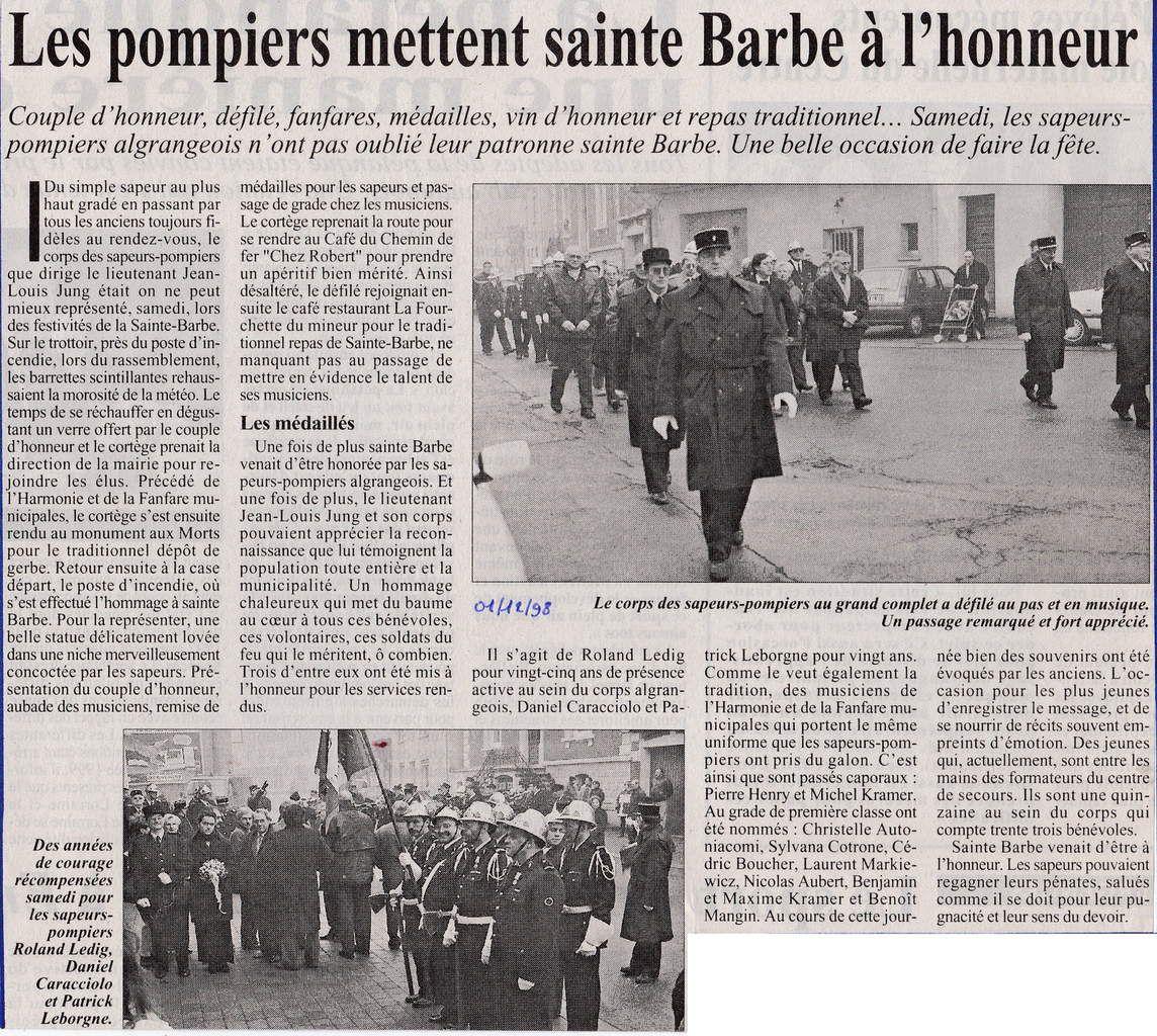 Sainte Barbe des Sapeurs-Pompiers à Algrange en 1998