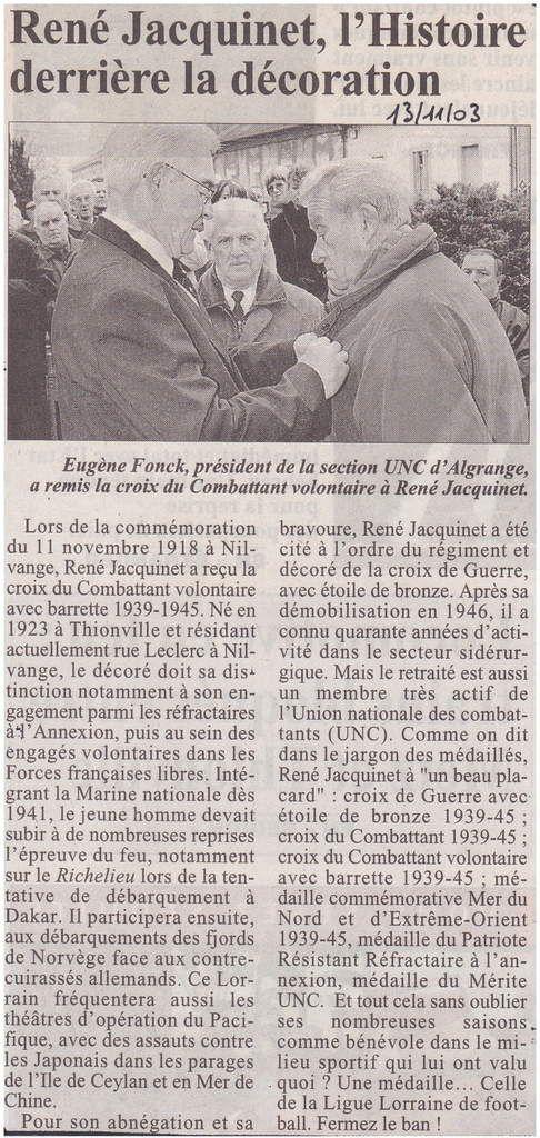 Commémoration du 11 novembre à Algrange en 2003