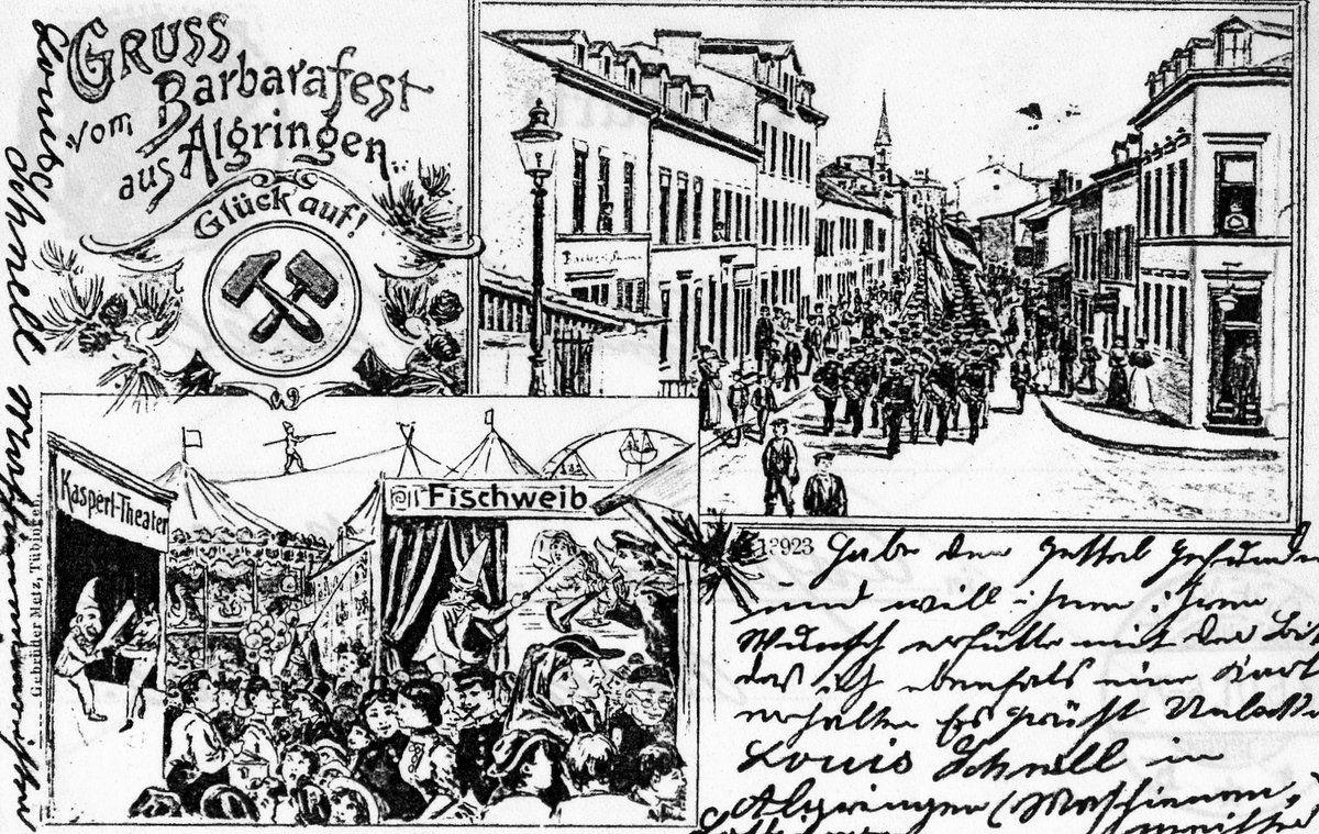 Carte postale de 1900,Souvenir de la fêtedes Mineurs d'Algrange et emblème Glück auf (Bonne remontée)