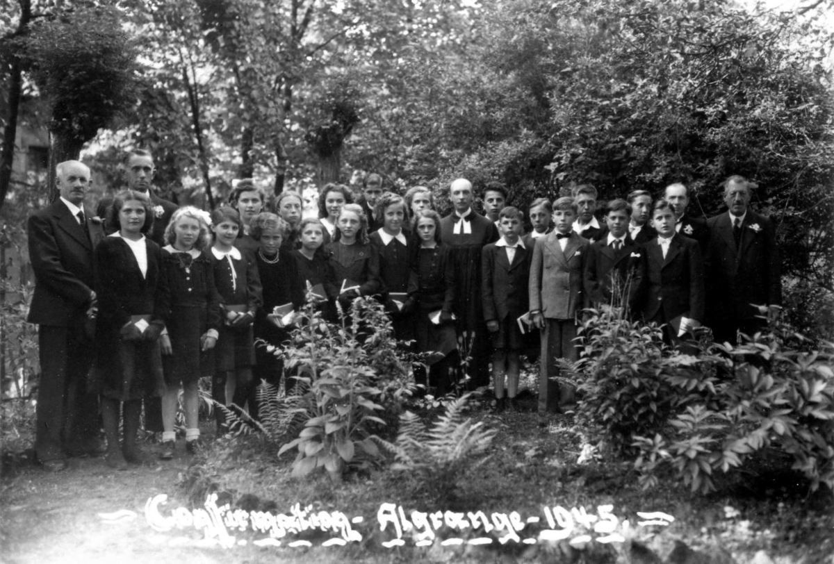 Confirmation au temple protestant en 1945 à Algrange