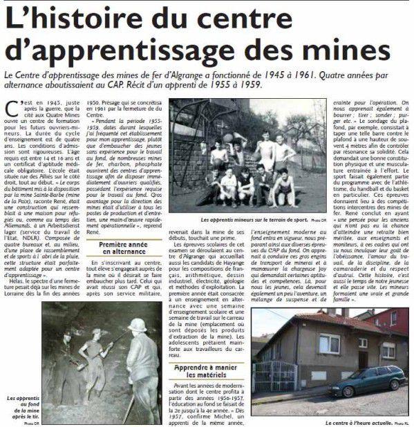 Histoire du centre d'apprentissage des mines d'Algrange (1945-1961)
