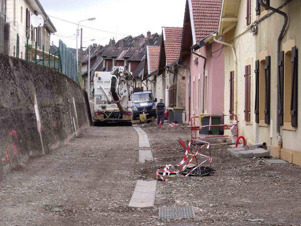 Les travaux de la rue de Londres à Algrange en 2012