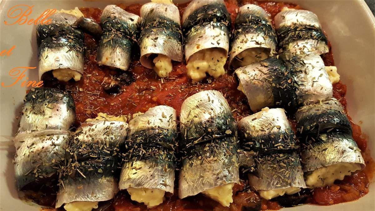 Paupiettes de sardines sur compotée de tomates