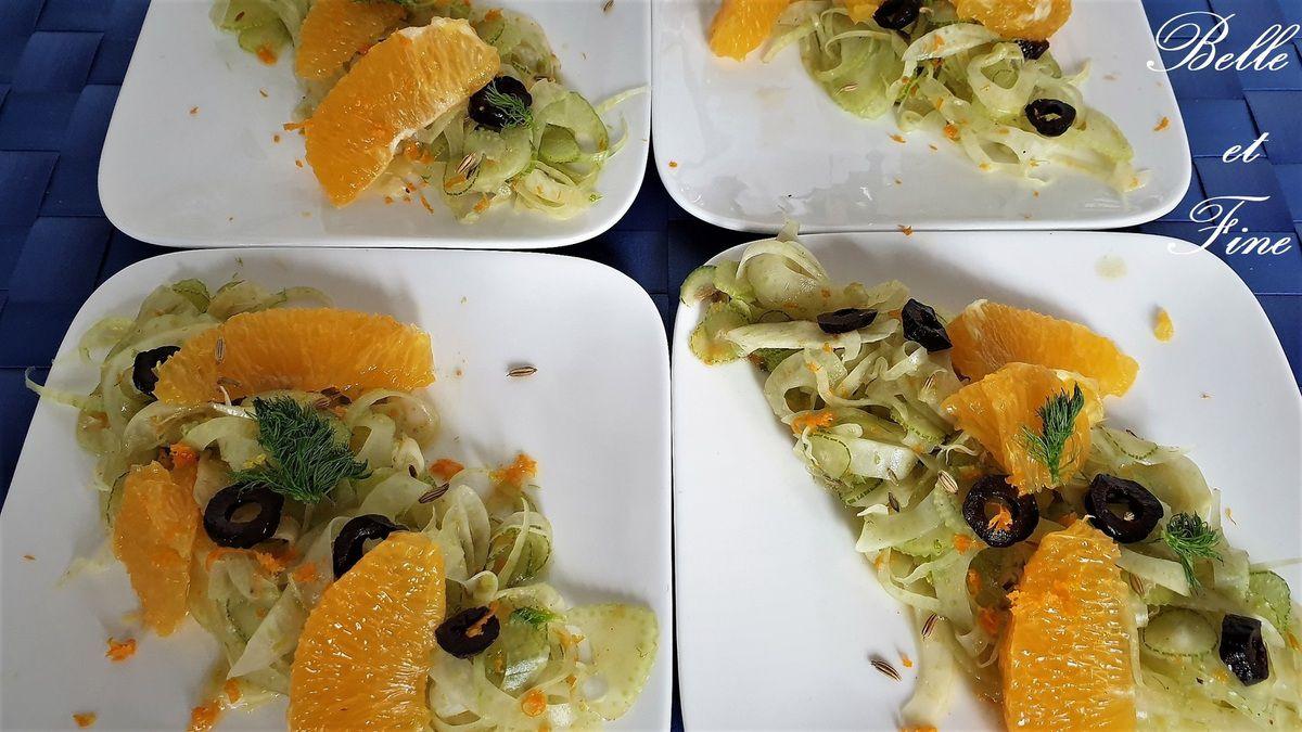 Salade de fenouil à l'orange, olives noires et raisins secs