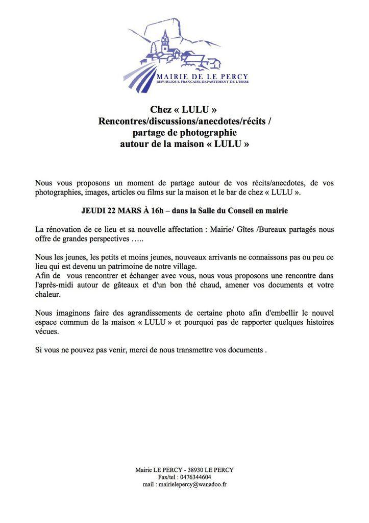 """RÉUNION SUR L'HISTOIRE DE """"CHEZ LULU"""""""