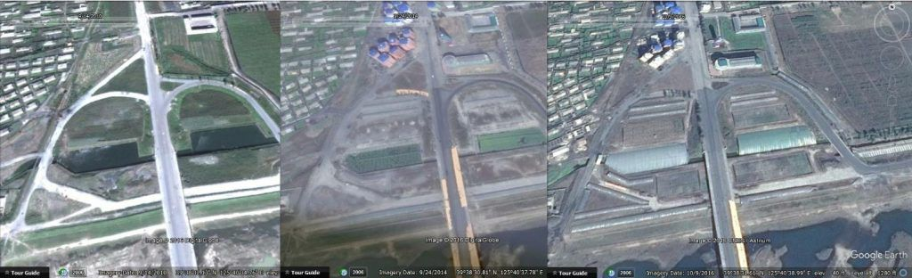 Photos (Google Earth) du Complexe chimique de la Jeunesse de Namhung, en 2010, 2014 et 2016