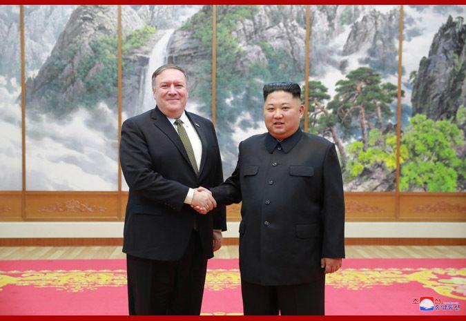 Kim Jong-un et Mike Pompeo, le 7 octobre 2018