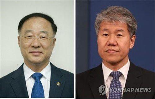 De gauche à droite : Hong Nam-ki et Kim Su-hyun, respectivement nouveau ministre de l'Economie et nouveau conseiller présidentiel chargé des politiques économiques