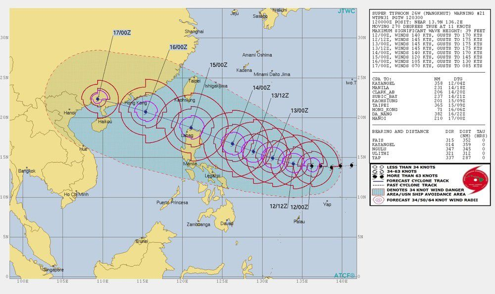 Carte Typhon Chine.Ouragan Mangkhut Super Typhon Qui Arrive Sur Hong Kong