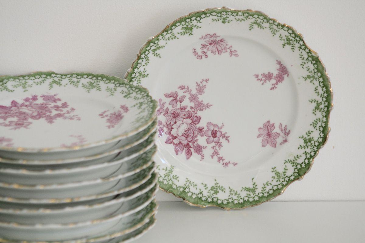 Lot de 10 assiettes à dessert en porcelaine Décor fleurs rose Vintage
