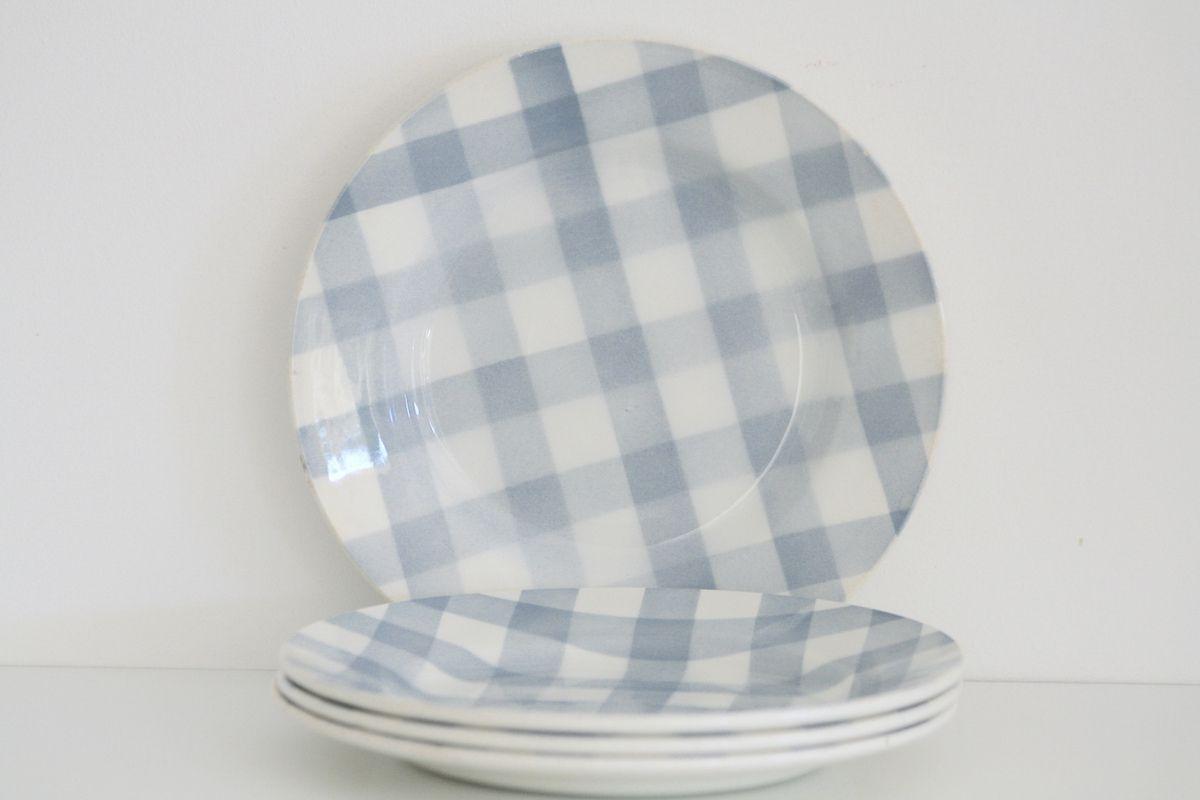 Lot de 4 assiettes plates Digoin Sarreguemines écossais gris