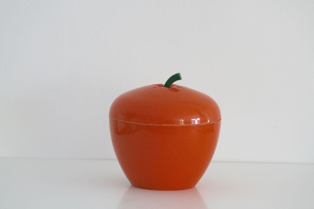 Pomme seau à glaçons orange Années 70 - Vintage