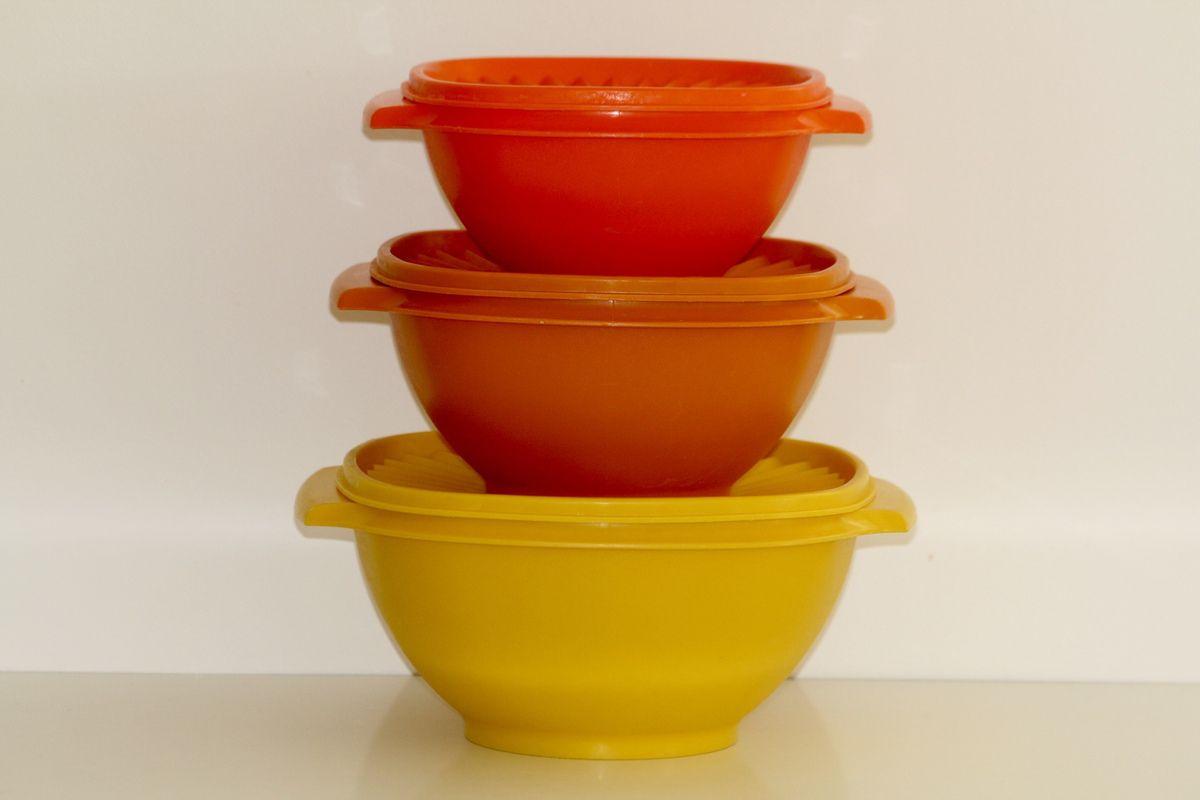 Lot de 3 boites saladier Soleil  Tupperware Années 70 - Vintage
