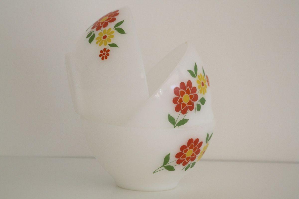 Bol Arcopal décor fleur Années 70 - Vintage