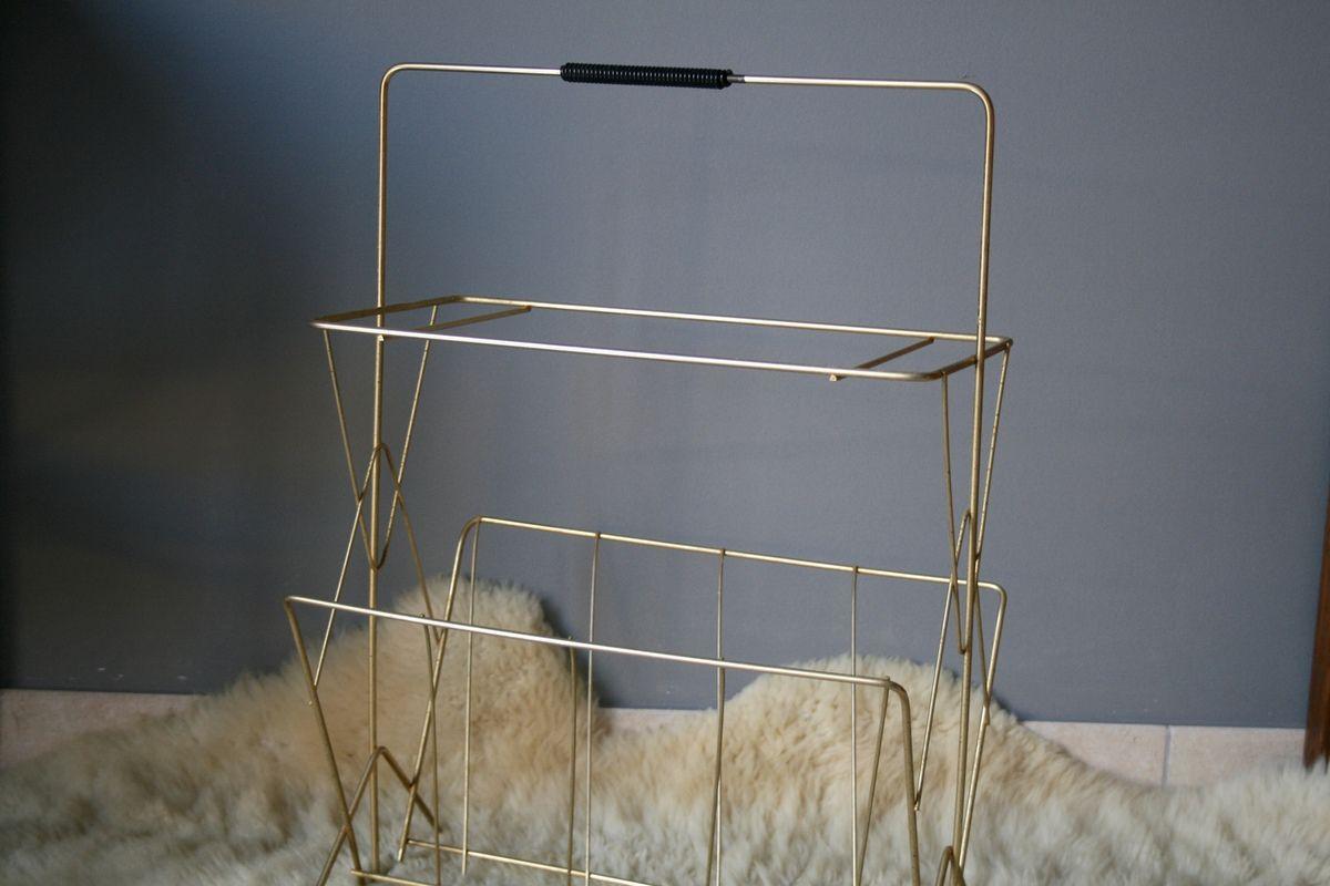 Porte revues métal doré Années 50 - Vintage