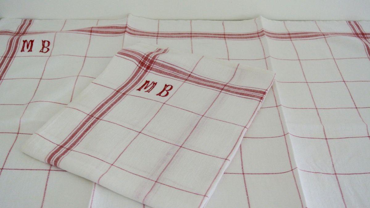 Lot de 2 torchons anciens brodé MB Carreaux Blanc et rouge Vintage