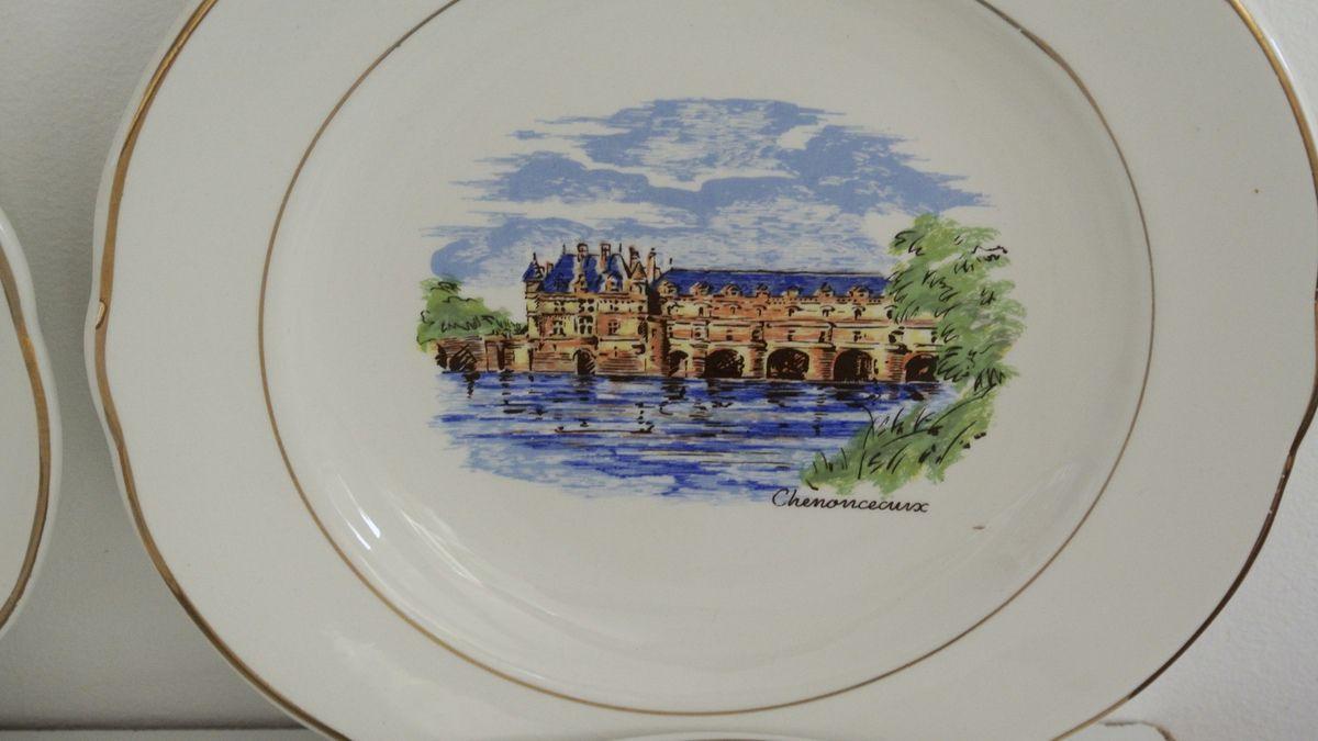 Lot de 6 assiettes à dessert Sarreguemines les chateaux de la loire Chenonceaux, Amboise, Blois ...