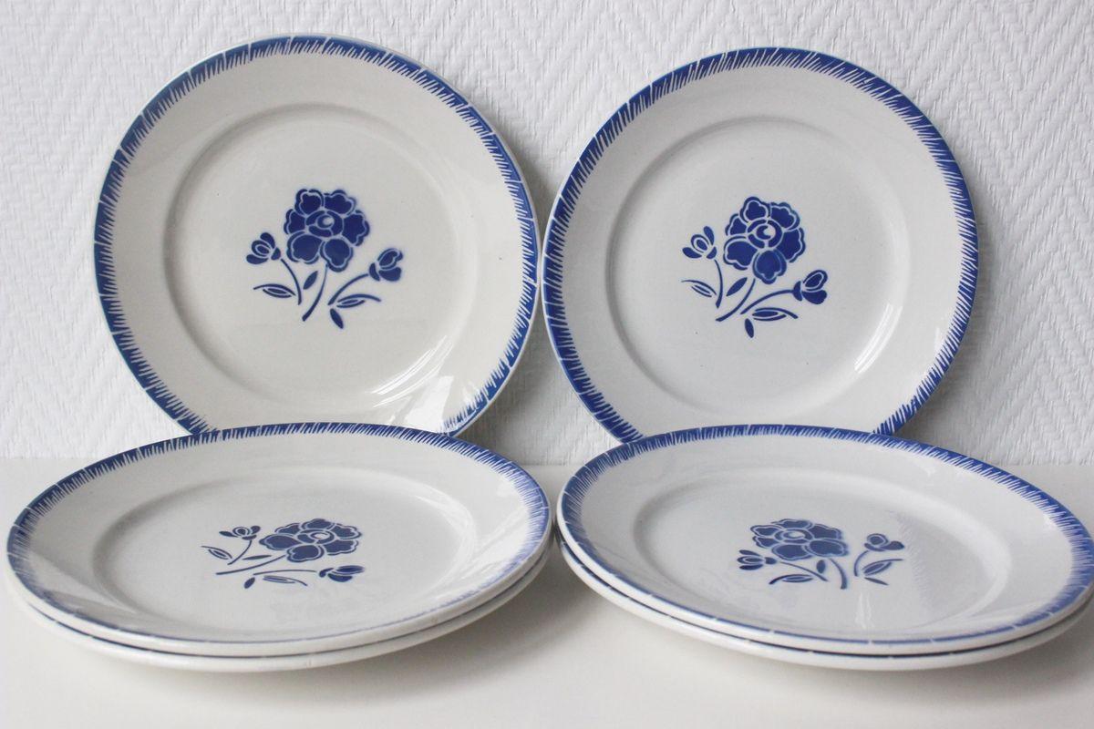 Lot de 6 assiettes plates décor fleur bleue FB Vintage