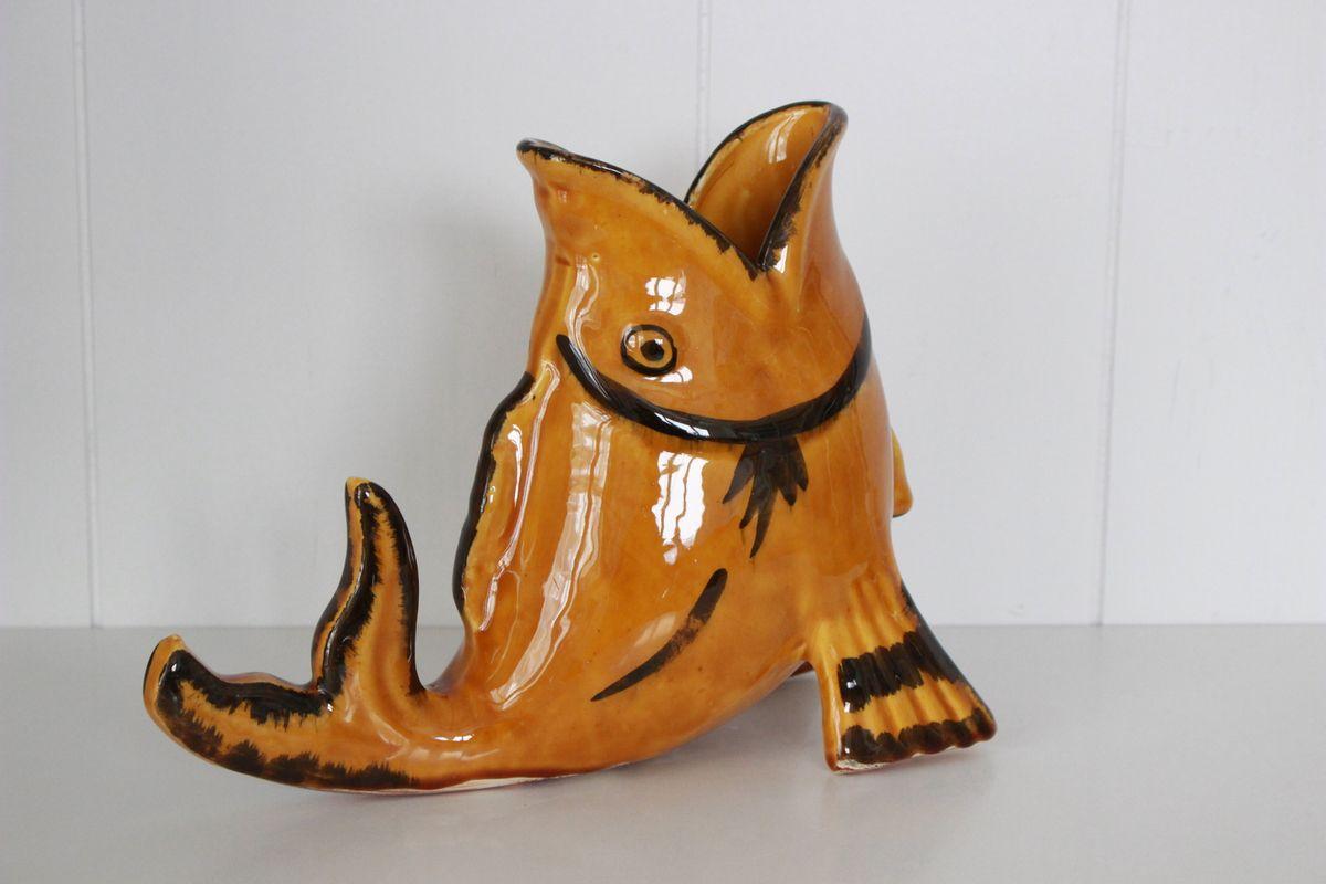 Vase en forme de poisson en faïence Années 70 - Vintage