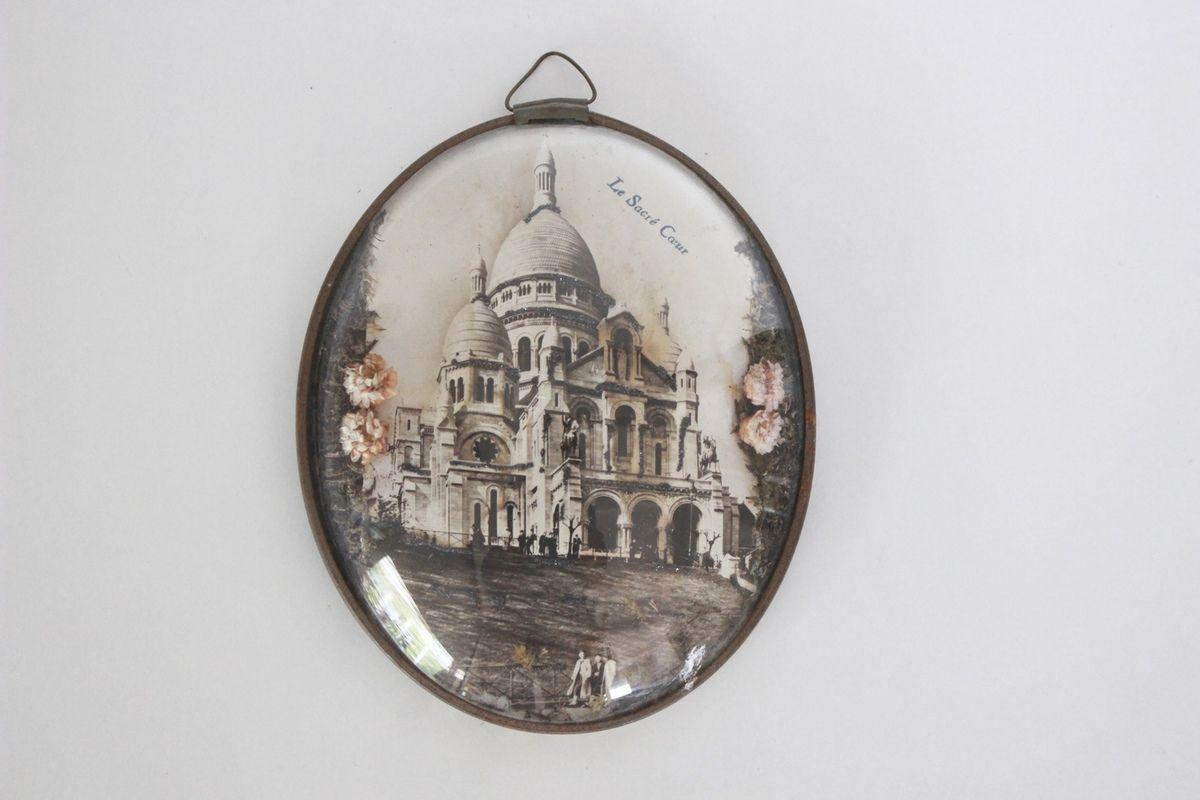 Petit cadre ovale Verre bombé décor Le Sacré coeur Années 60 - Vintage