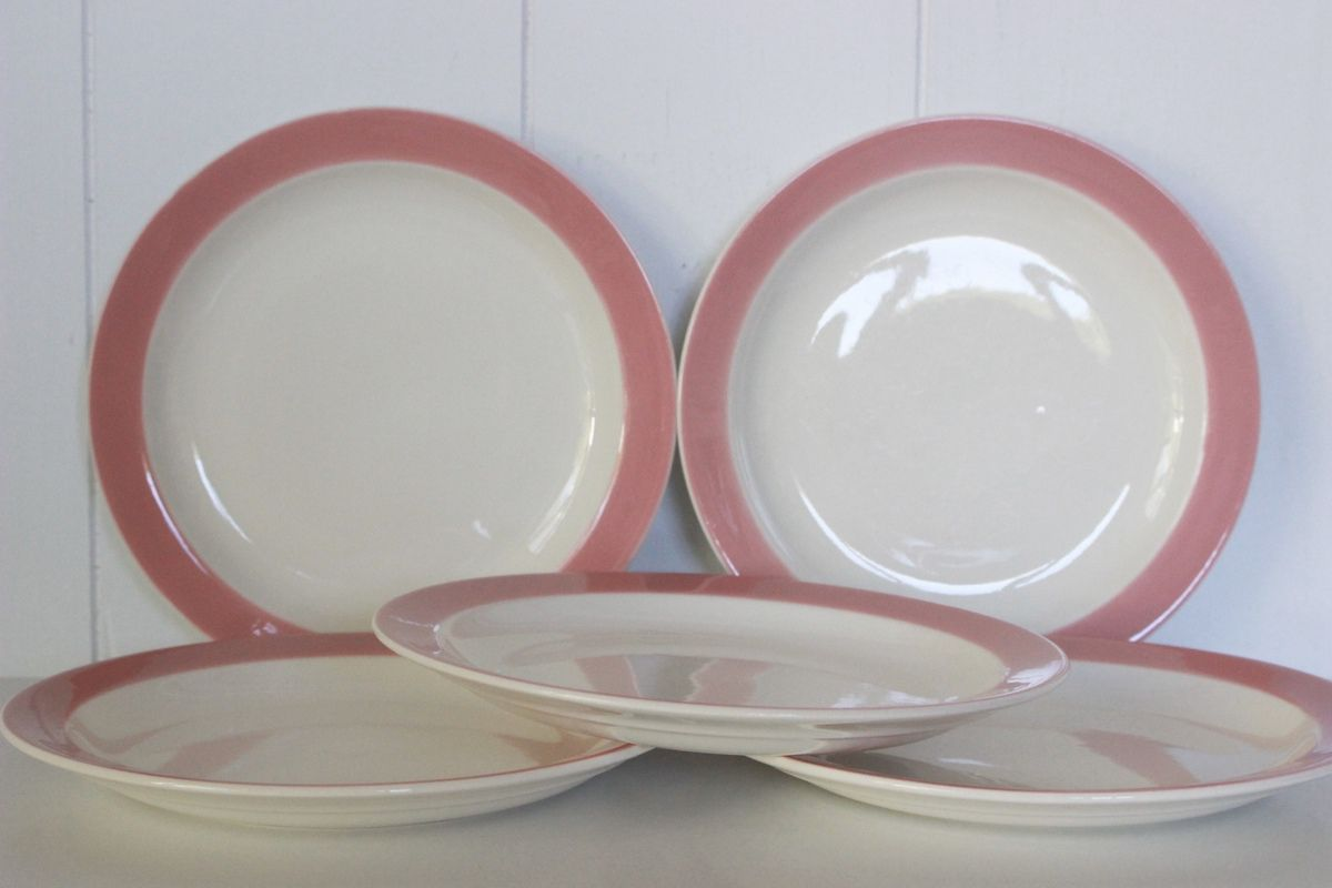 Lot de 5 assiettes à dessert rose Regout Mastricht Made in Holland Années 60 - Vintage