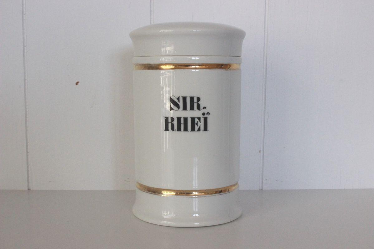 Superbe pot à Pharmacie en porcelaine Blanche et dorée SIR Rhei Vintage