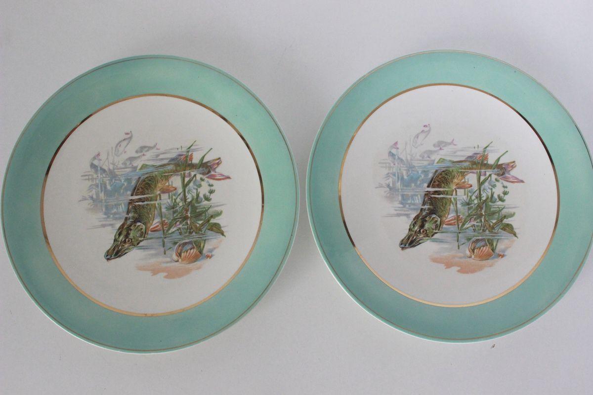 Lot de 2 assiettes plates décor poisson Années 60 - Vintage