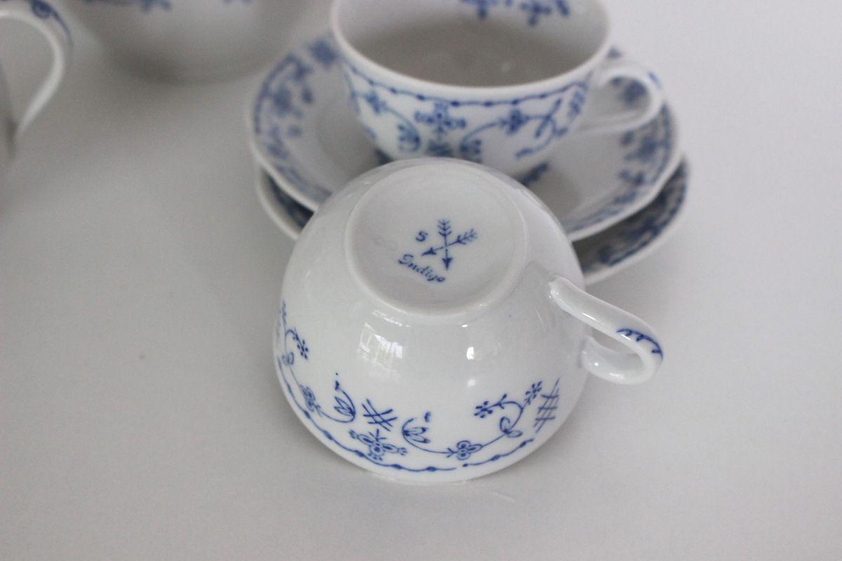 Service à café en porcelaine signé Indigo Vintage