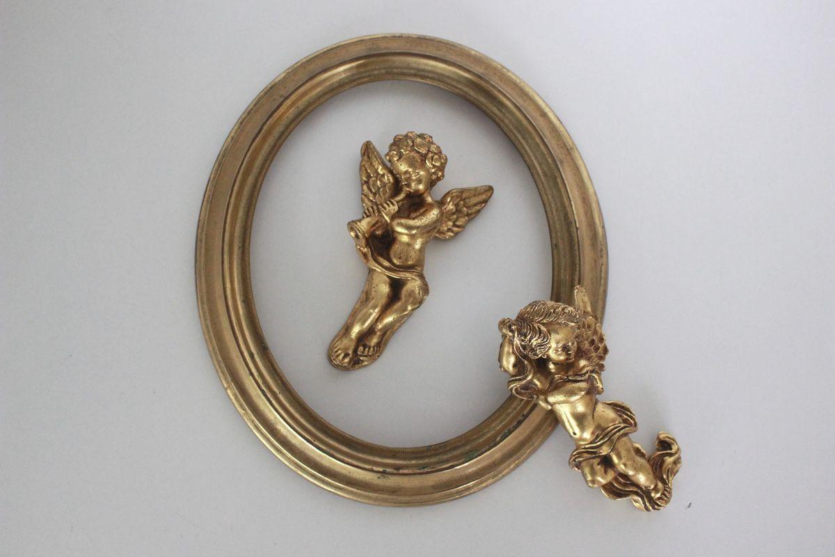 Paire d'anges ou chérubins en résine dorée Vintage