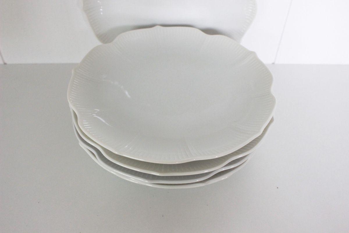 Lot de 6 assiettes à dessert en porcelaine blanche Vintage