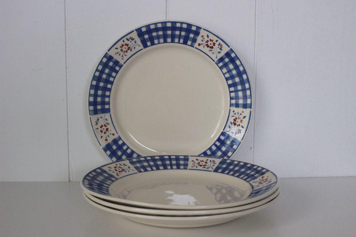 Lot de 4 assiettes plates Lunéville Gérardmer Vintage