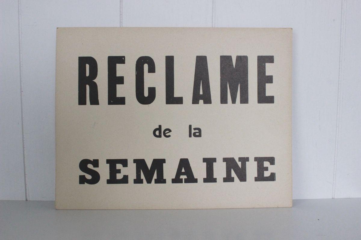 Pancarte en carton Reclame de la semaine Années 70 - Vintage