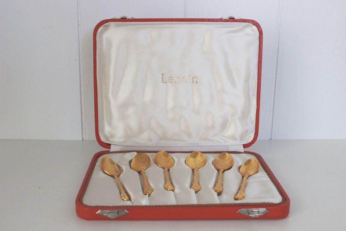 Coffret de 6 petites cuillères dorées Lenain Années 60 - Vintage