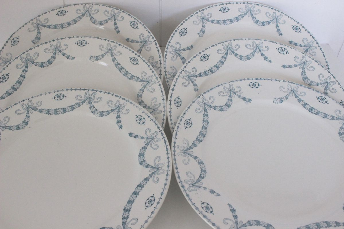 Lot de 6 assiettes Juliana Sarreguemines Décor vert clair