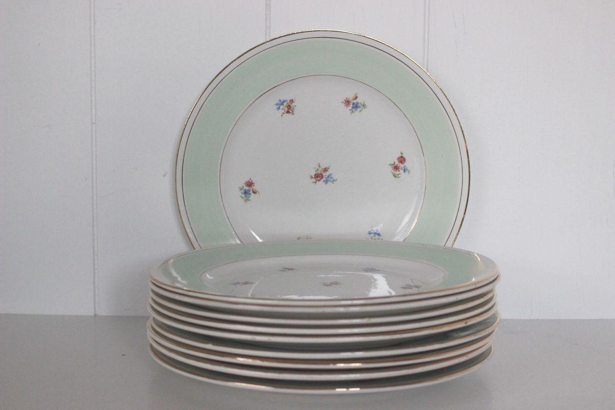 Lot de 10 assiettes plates Porcelaine opaque petites fleurs vert mint et doré Années 60 - Vintage
