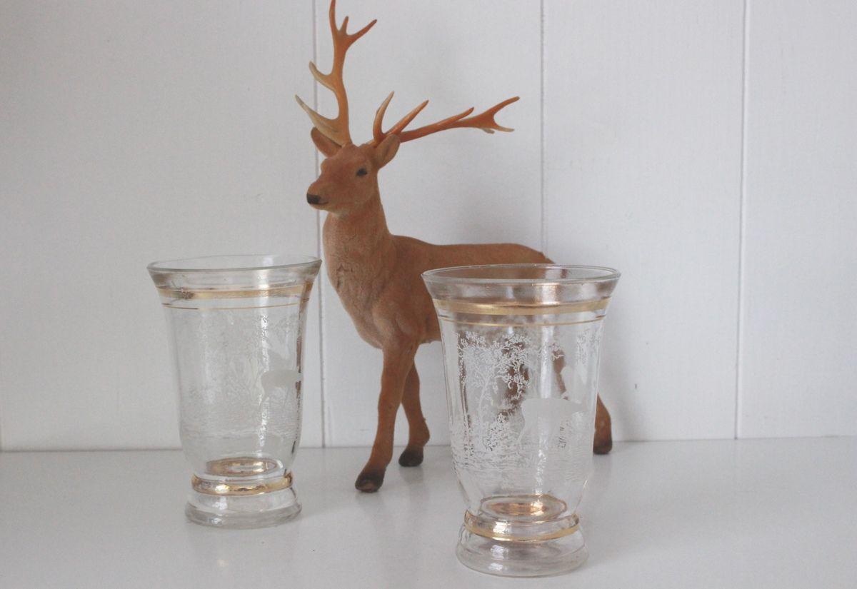 Lot de 2 petits Vases décor cerf Années 50 - Vintage