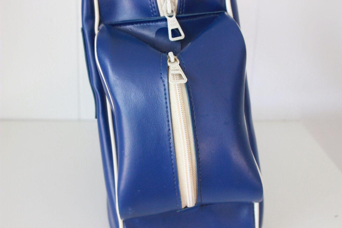 Sac à chaussures ou patin En skaï bleu Atomic Années 70 - Vintage