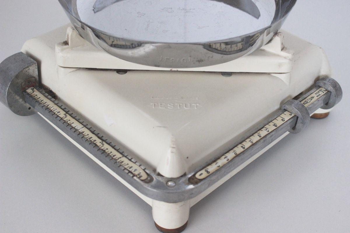 Balance Testut blanc crème avec plateau inox Années 50 - Vintage