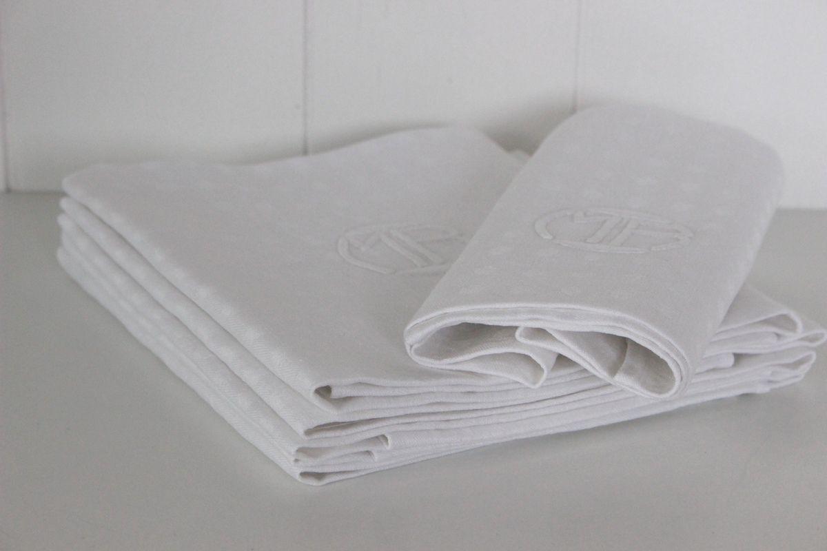 Lot de 6 serviettes anciennes Monogrammées MB