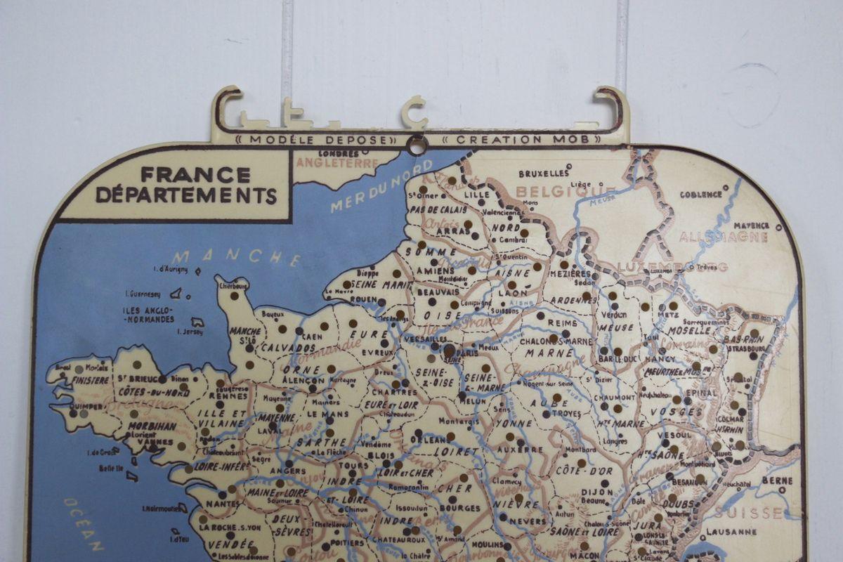 Petite carte La france par département Création Mob Années 60 - Vintage