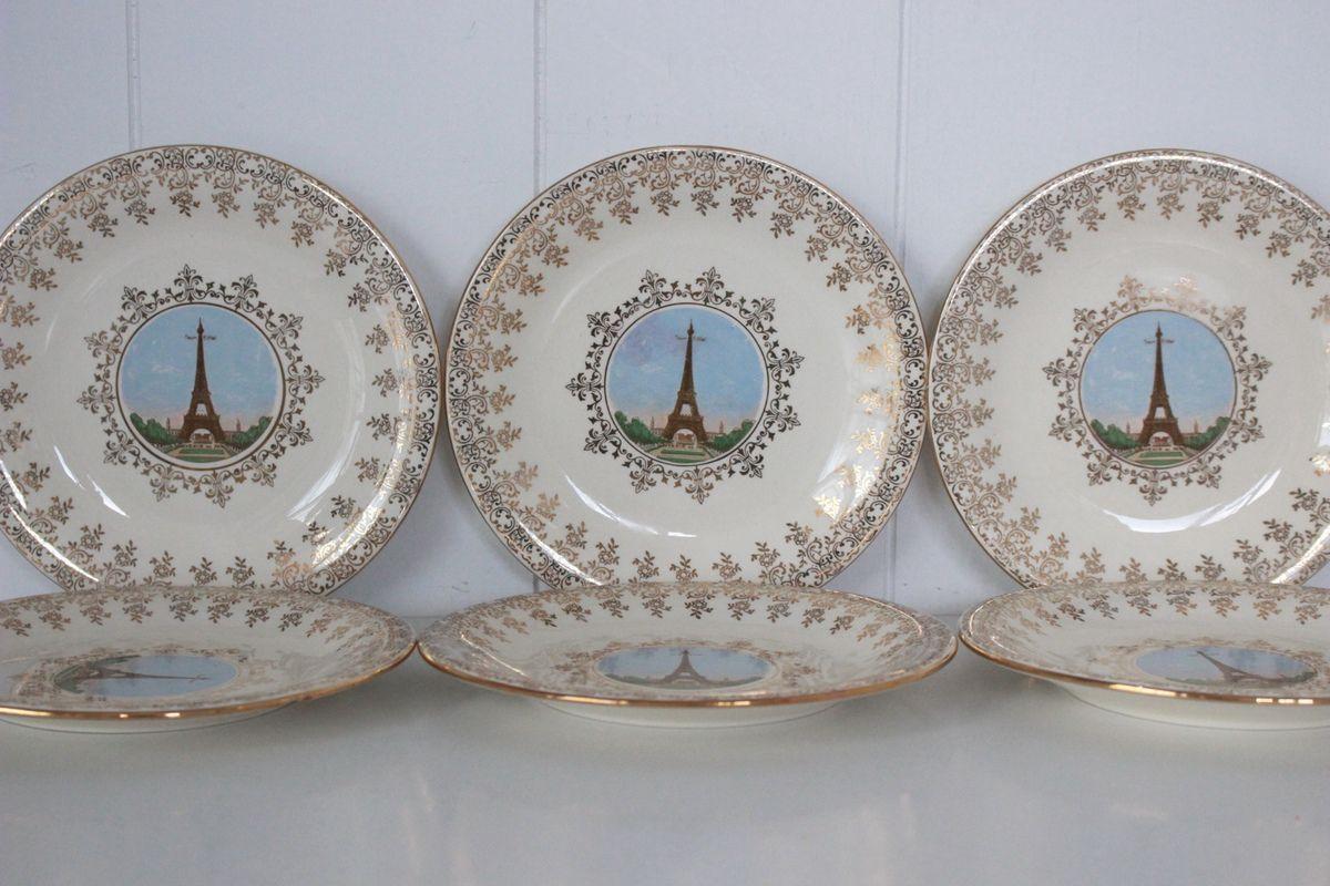 Lot de 6 petites assiettes Souvenir de Paris Villeroy et Boch Années 60