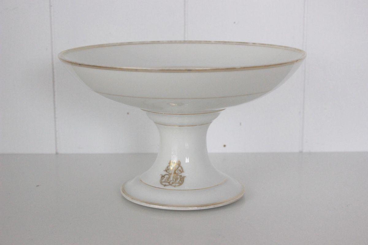 Compotier serviteur ancien en porcelaine blanche monogramme doré Collin Paris Rue de Rivoli