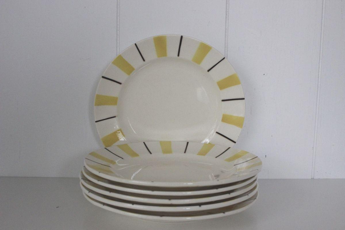 Assiettes à dessert jaune et noir  Années 60 - Vintage