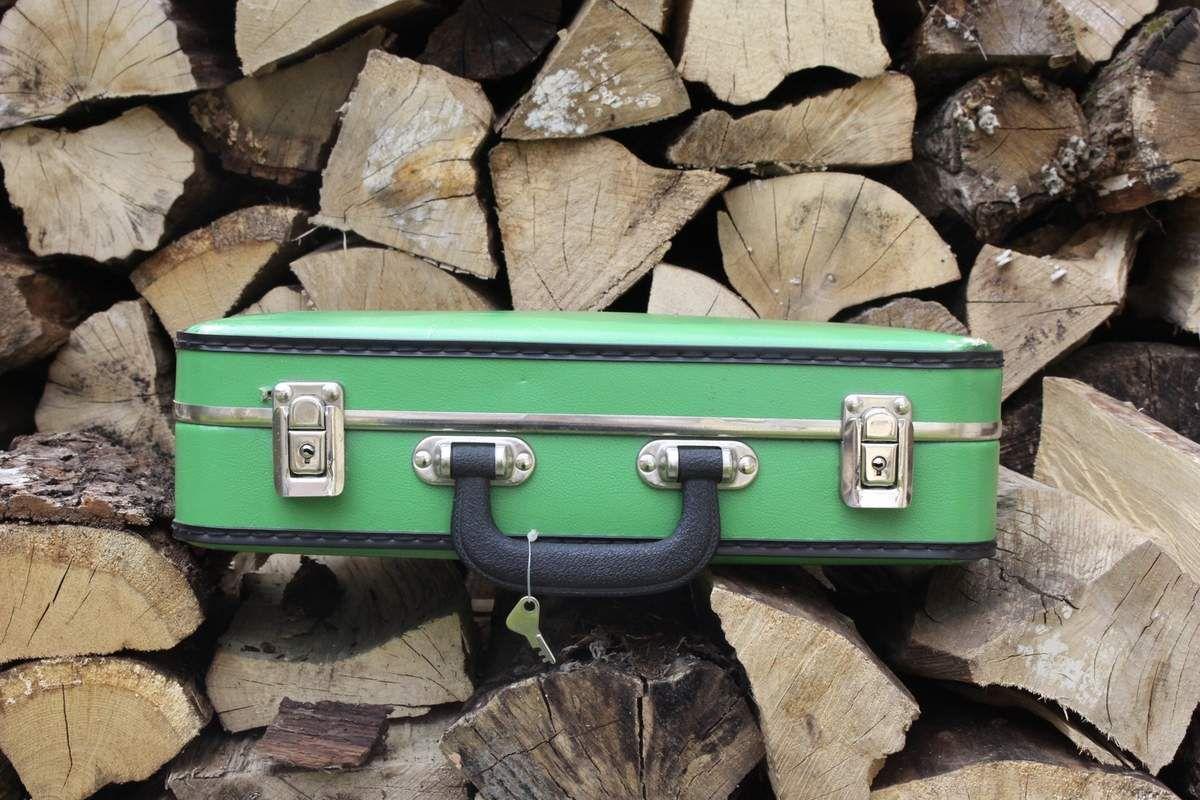 Petite Valise verte avec clés Années 60 - Vintage