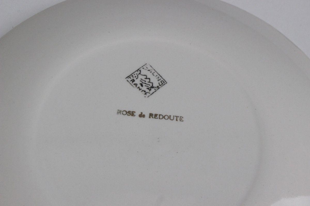 Grande assiette Salins Signé Rose de Redouté Année 70 - Vintage