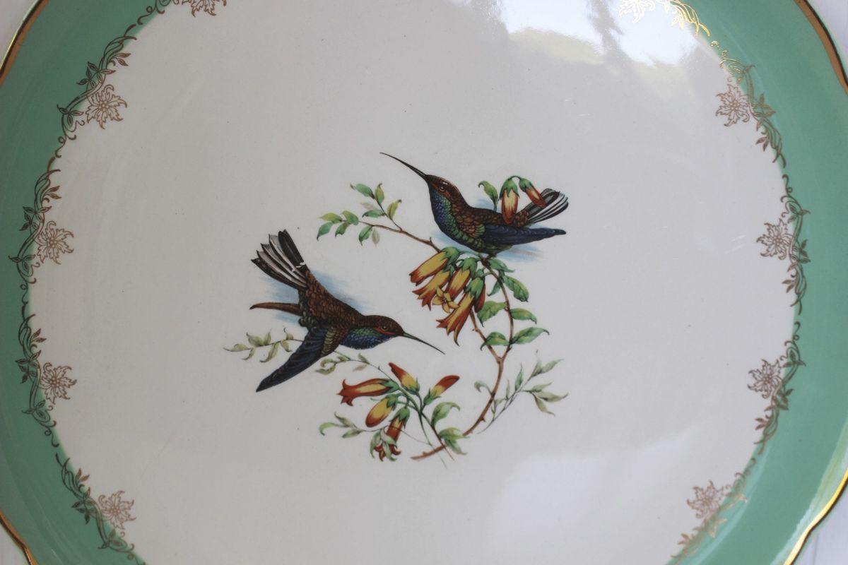 Plat à tarte Digoin Sarreguemines Décor oiseaux Années 60 - Vintage