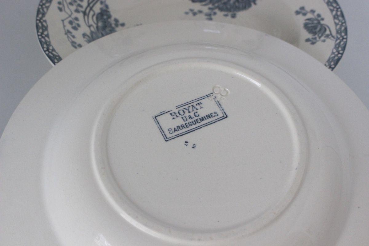 Lot de 3 assiettes creuses Sarreguemines U&C Royat
