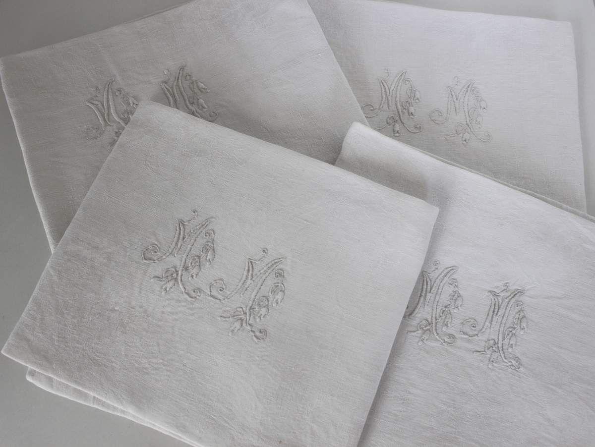 Lot de 4 serviettes monogrammées MM